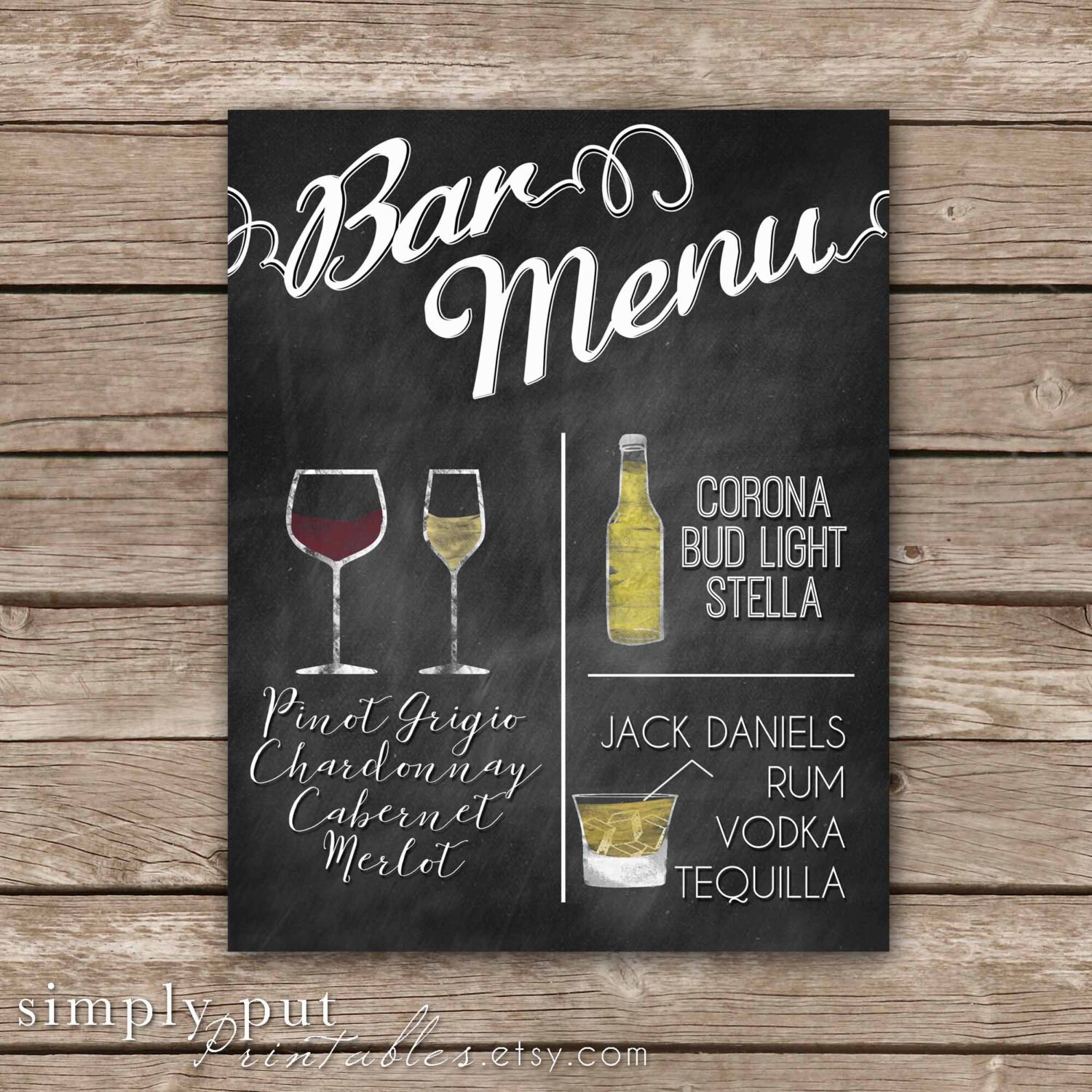 chalkboard bar menu personalized cocktail sign custom | etsy