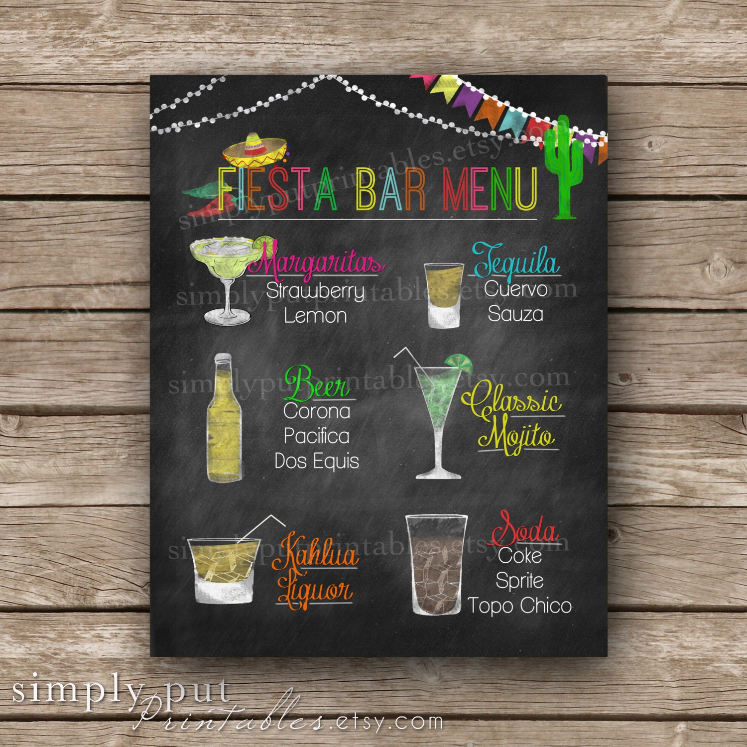 custom fiesta chalkboard bar menu sign printable cinco de | etsy