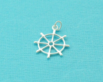 sterling silver ships wheel charm - nautical jewelry