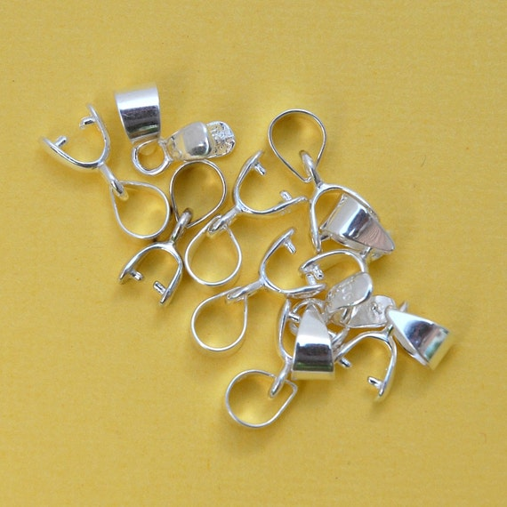 stamped .925 5 pcs or more smooth shiny polished classic basic 12mm necklace pendant charm bail 12 mm sterling silver teardrop bail