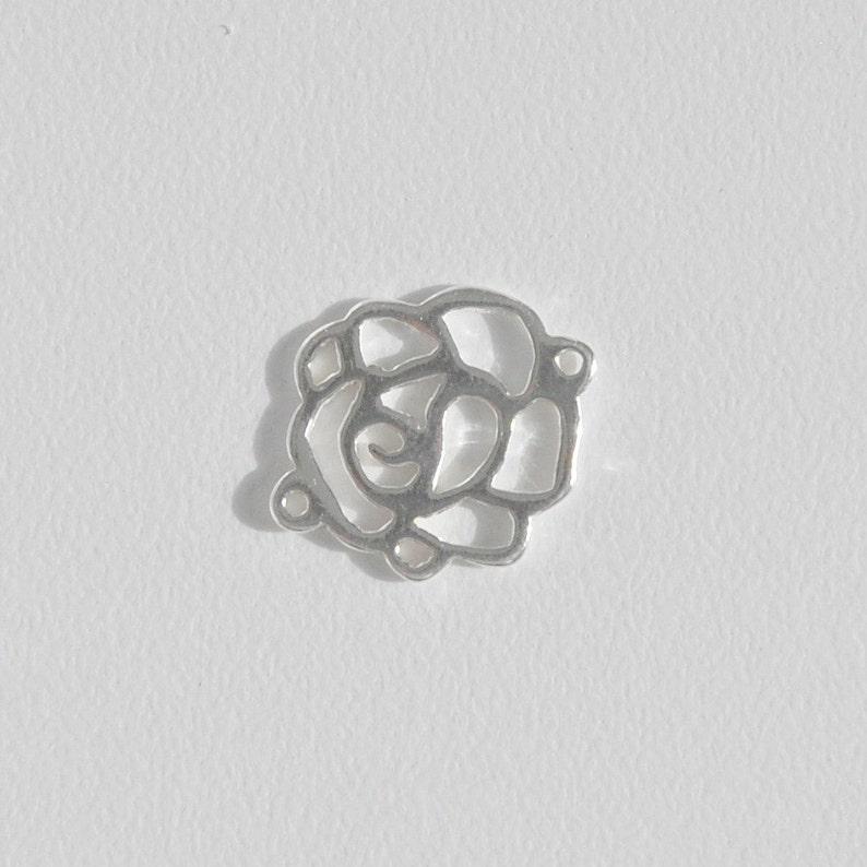 sterling silver rose spacer rose pendant connector sterling silver flower shape flower shape spacer Sterling silver connector 5x