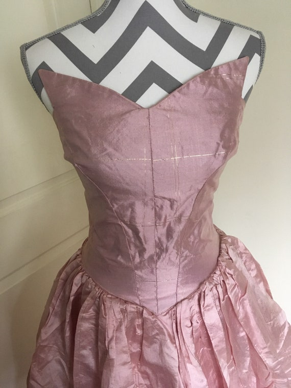 Vintage '50's Strapless Gown Pink and Gold Tiered