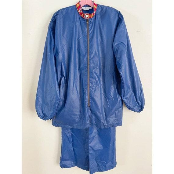 Vintage Rain Suit Action Fashions 1970s Blue Scand