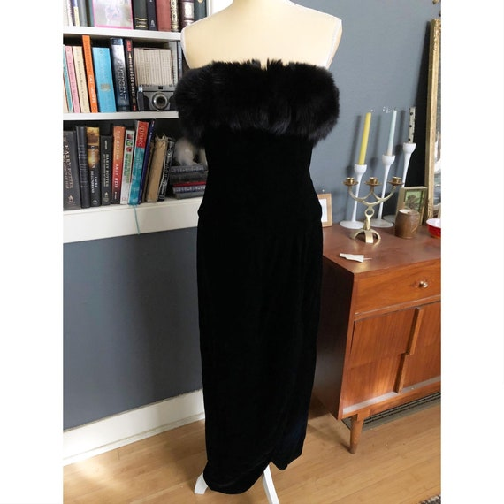 Vintage Lillie Rubin Velvet Fox Fur Trimmed Sleeve