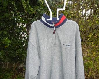 85ccf40ca Dope unisex Vtg Tommy Hilfiger 1/4 Zip up fleece Gray Tommy Flag logo  Collar Athletic pullover jacket sweater sz Large