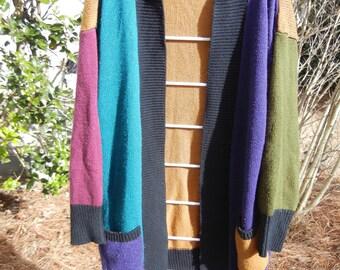 Women's Vintage Adrian Jordan Multi-colored bold color block cardigan throw jacket Size Large/XL Purple Blue Green Tan BlacK
