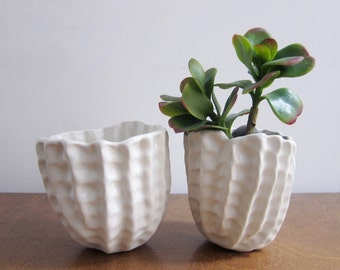 Bumpy Pinch Pot Planter, white