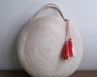 Round White Basket Bag - Round Circle Purse