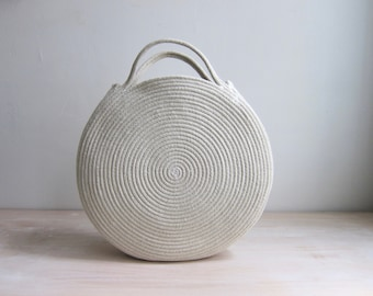 Round White Basket Bag - Round Circle Purse