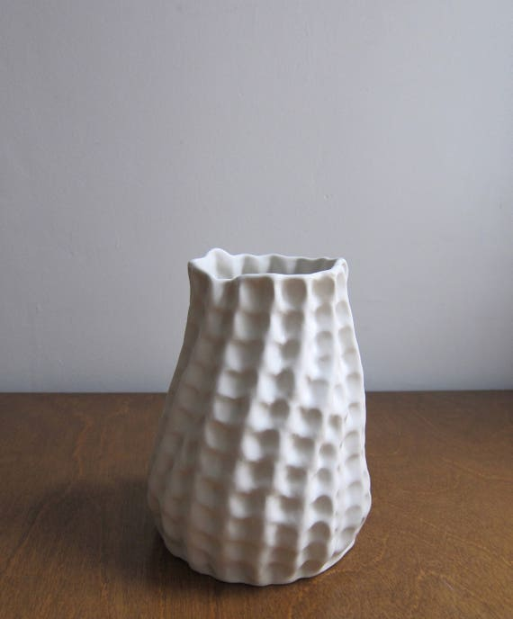 Tall White Ceramic Vase Textured Pinch Pot Pottery Vase Etsy