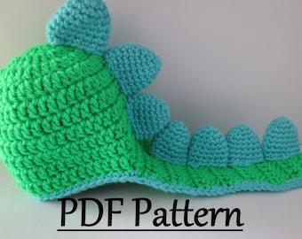 CROCHET PATTERN Dinosaur Hat, Crochet Dino Hat Pattern, Crochet Baby Dinosaur Hat, Dinosaur Pattern Crochet, Crochet Hat Pattern Dinosaur