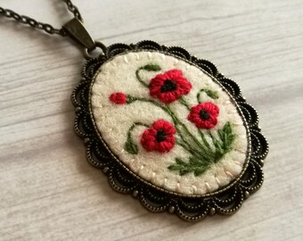 Embroidered Red Poppy Necklace, Pendant with embroider poppies, Elegant red necklace, Mothers day gift, gift for mother of bride