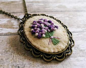 Lilac Embroidered Necklace, Gift for mom, Mothers day gift, sister gift, Lilac Bouquet Embroidered Pendant, Purple Floral Necklace