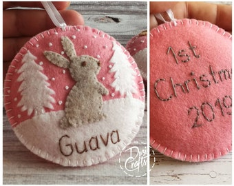 Personalized First Christmas 2021 ornament, Felt Bunny ornaments with Embroidered Name and Birth date, Newborn gift / MADE TO ORDER