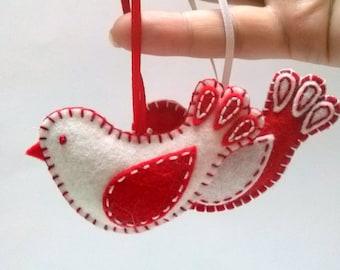 Felt Christmas ornaments, Felt bird ornament, red white bird ornament, Christmas decoration, Valentines day decoration/ set of 2