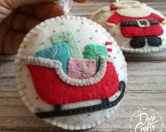 Set of 2 Felt Father Christmas and Sleigh ornaments, Red tree decoration, Xmas ornaments, Christmas decor / READY TO SHIP
