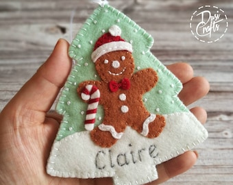 Christmas Personalized Gift Card Holder Ornament, Ginrebread Man ornament, Door hanger gift with Name