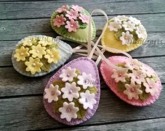 Tiny Flower Easter eggs, Pastel Easter ornaments, Felt Easter decoration, Easter flower eggs floral eggs / choose 1 egg