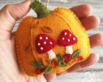 Pumpkin ornament with Mushrooms and colorful leaves, Toadstool Fall decorations, Autumn decor, Wool Felt  ornament / MADE TO ORDER