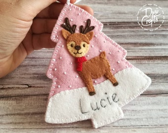 Christmas Personalized Gift with pocket, Fawn ornament, Deer ornament, Reindeer with Name, Door hanger