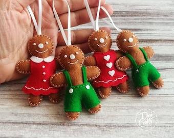 Wool Felt gingerbread family ornaments, Gingerbread decorations / set of 4