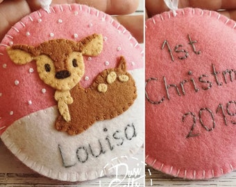 Personalized First Christmas 2021 ornament, Baby Deer ornaments with Embroidered Name and Birth date, Newborn gift / MADE TO ORDER