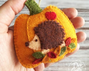 Pumpkin ornament with Hedgehog and colorful leaves, Fall decorations, Autumn decor, Wool Felt  ornament - 1 ornament / MADE TO ORDER