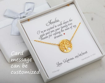 Family Tree Necklace,tree of life,Mother of the groom gift,mother in law gift,gift from bride to mom,Mother's day gift,custom jewelry card