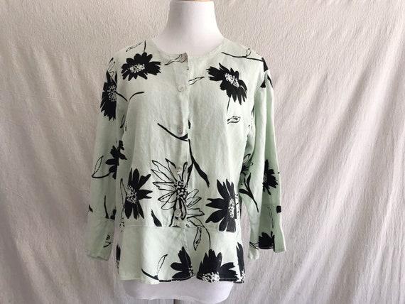 FERNE - linen floral burst bell sleeve blouse in l