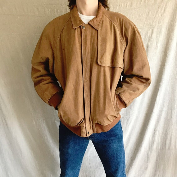 Marlboro leather bomber jacket - vintage mens brow