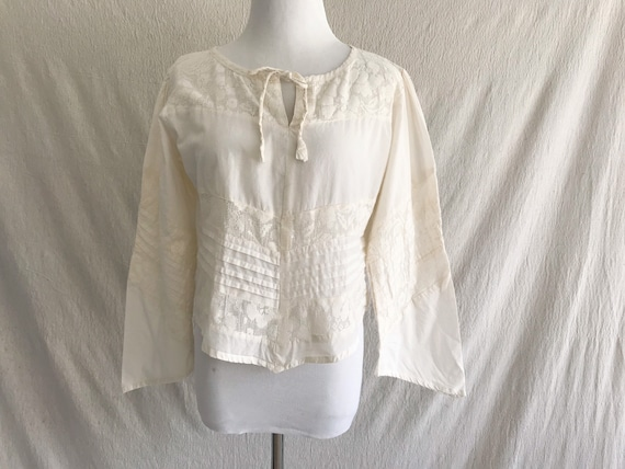 BLANCHE - ivory cotton peasant blouse with bell sl