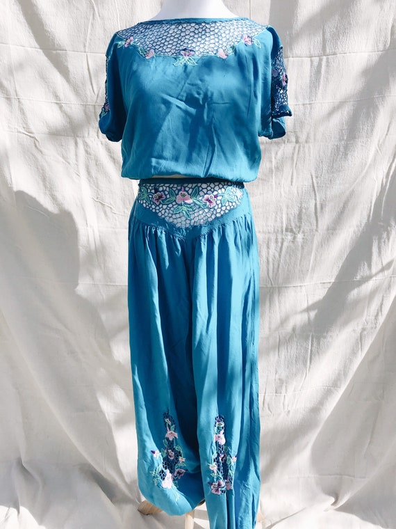Embroidered bohemian blue gypsy two piece harem pa