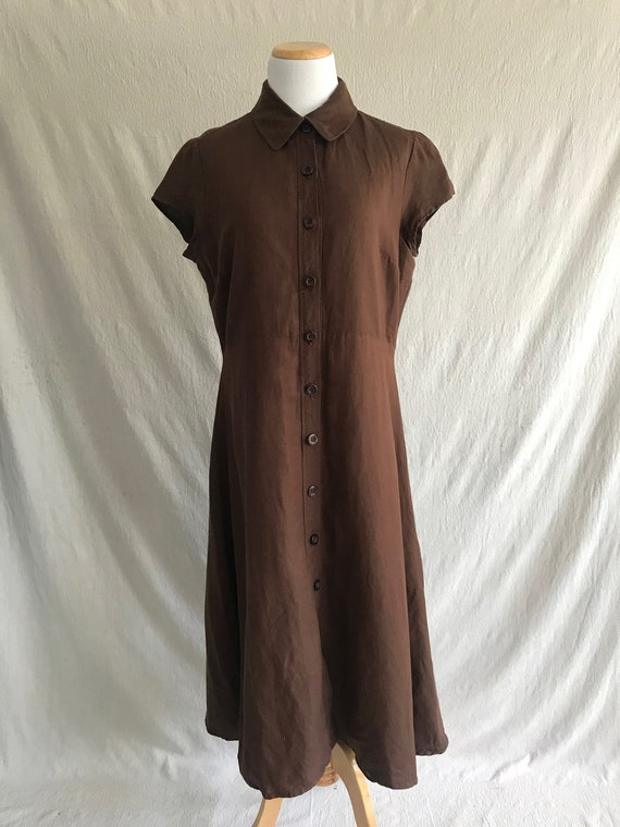 CACAO - linen midi market dress in brown
