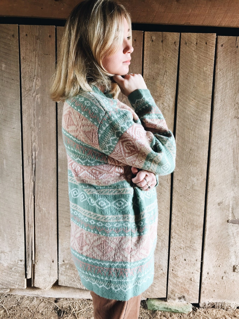 pastel pink and green fair isles wool knit sweater