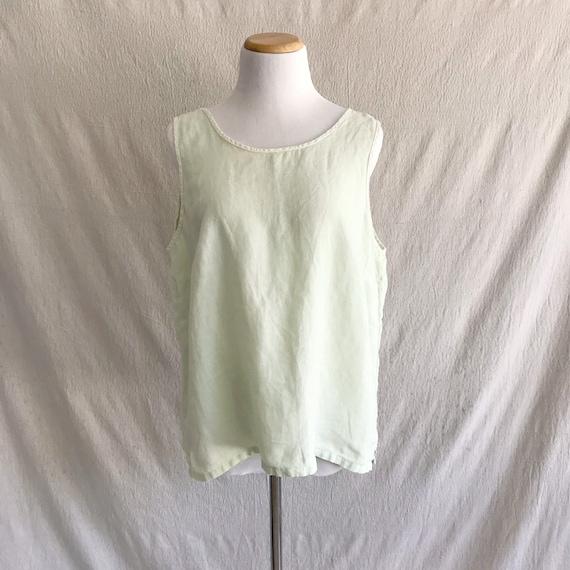 FERNE - linen pistachio tank top blouse