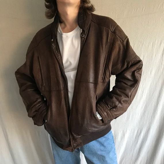80s genuine leather brown bomber jacket