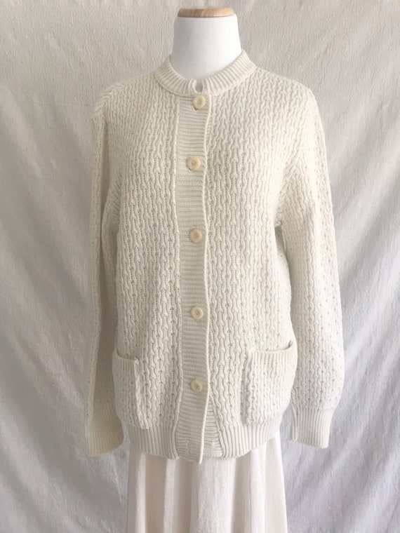 BLANCHE - wool ivory cable knit cardigan sweater