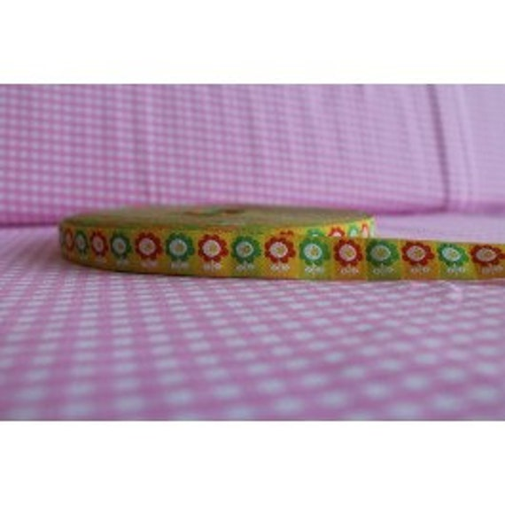 Grenouille de tissu tissé ruban Lille Prince fleurs jaune