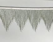 6 quot Silver Glass SEED and Long Bugle Beaded Fringe CHEVRON Lamp Costume Trim