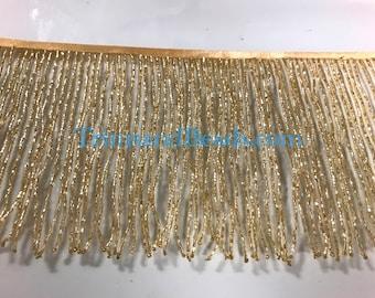 Metal Coin /& Beaded Fringe 3/'/' Long In Gold Or Silverprice Per Yard