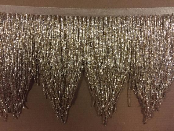 5 yard bolt 6.5 Silver Glass CHEVRON BUGLE Bead Beaded Fringe Lamp Costume Trim