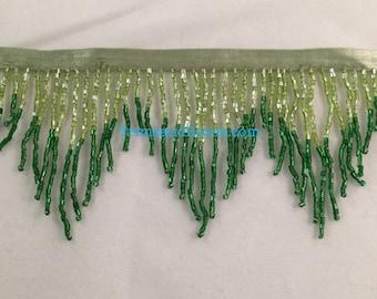 "3"" Lime/Emerald GREEN Glass CHEVRON Bugle Bead Beaded Fringe Lamp Costume Trim"