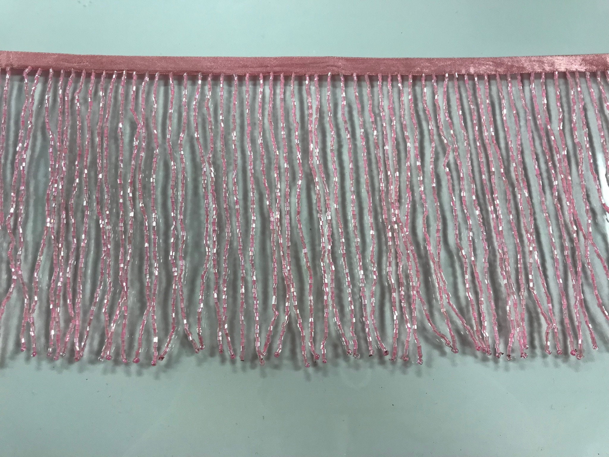 """By the Yard-4/"""" Glass SILVER BUGLE Bead Beaded Fringe Lamp Costume Trim"""