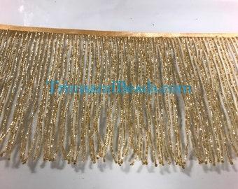 "6"" GOLD Glass BUGLE Bead Beaded Fringe Lamp Costume Trim Choose Length"
