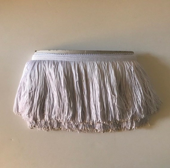 "6/"" White Chainette Fabric Fringe Lampshade Lamp Costume Trim by the Yard"