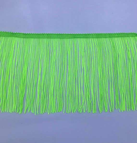"6/"" Neon Green Stretch Chainette Fringe Trim 5 Yards"