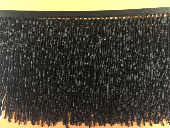 "5 Yard Bolt 6.5/"" Black Glass Seed Bead Beaded Fringe Lamp Lampshade Costume Trim"