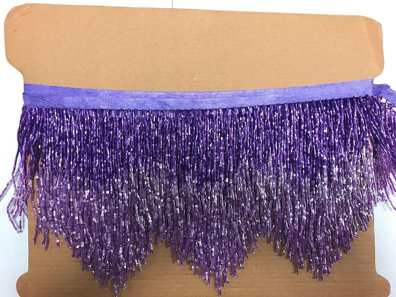 5 Yard Bolt 6.5 LilacPurple Ombre Ombr\u00e9 Chevron Glass BUGLE Bead Beaded Fringe Lamp Costume Trim