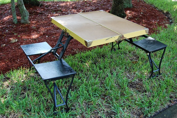 Vintage Folding Picnic Table Vintage Folding Table And Four Etsy