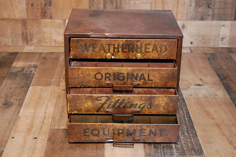 Vintage Weatherhead Original Fittings Equipment metal counter top storage  display box fully functional with compartments, original finish